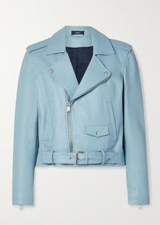 Theory Cropped Leather Biker Jacket