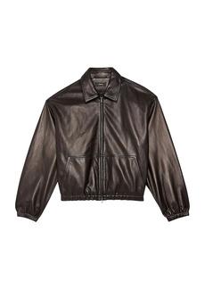 Theory Cropped Leather Bomber Jacket