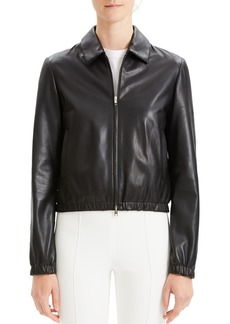 Theory Cropped Leather Zip-Front Bomber Jacket