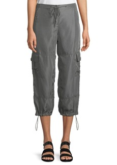Theory Cropped Silk Drawstring Cargo Pants