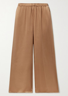 Theory Cropped Washed Silk-satin Wide-leg Pants