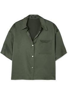 Theory Cropped Washed-silk Shirt