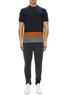 Theory Cyar Striped-Trim Short-Sleeve Sweater