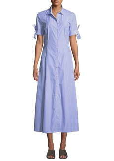 Theory Dalton Long Striped Tie-Sleeve Cotton Shirtdress