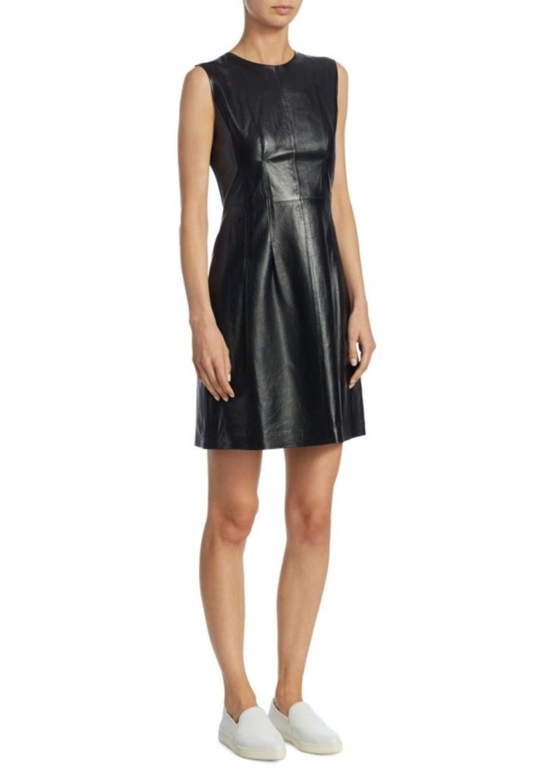 Theory Darted Combo Leather Dress