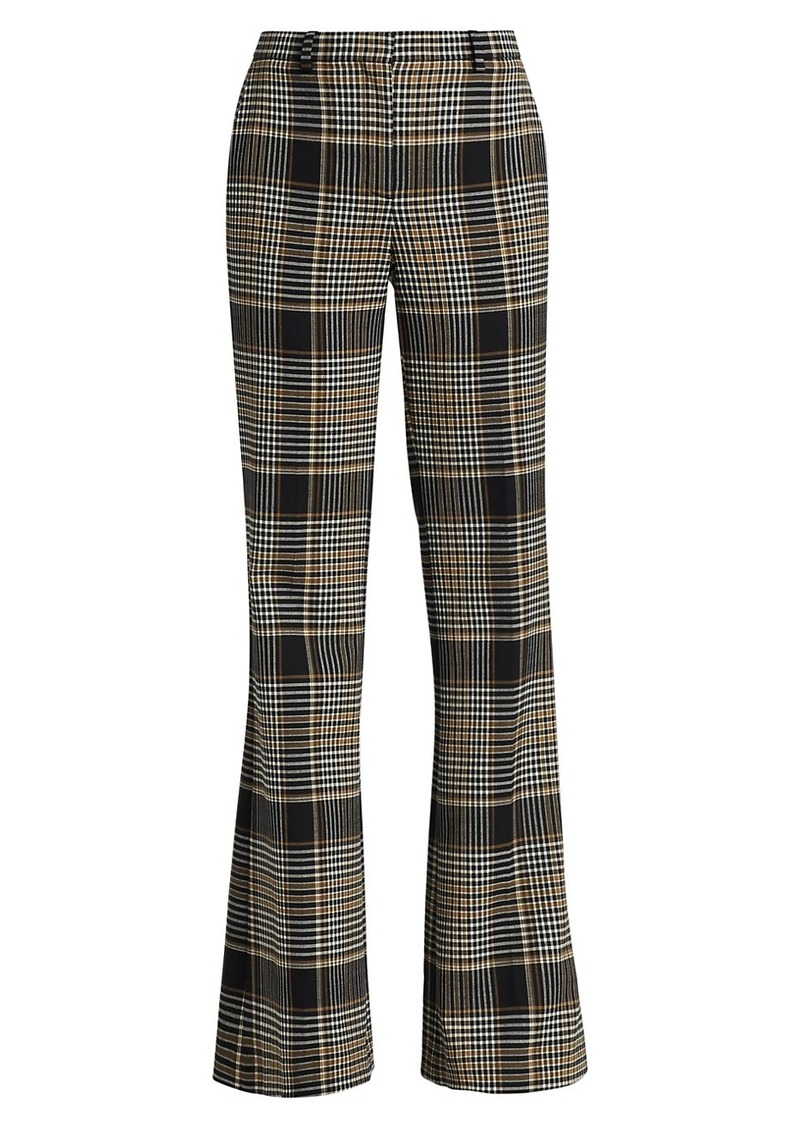 Theory Demitria Checkered Print Wide-Leg Wool-Blend Pants