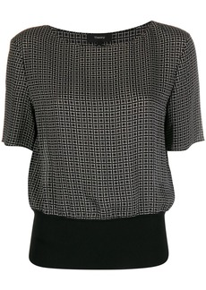 Theory Diamond Print Ribbed Waist blouse