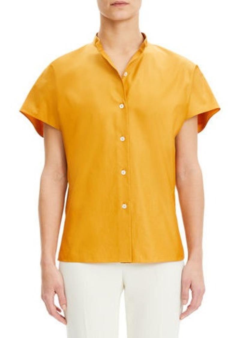 Theory Dolman-Sleeve Mandarin-Collar Cotton Shirt
