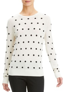 Theory Dot Intarsia Wool Crewneck Pullover Sweater