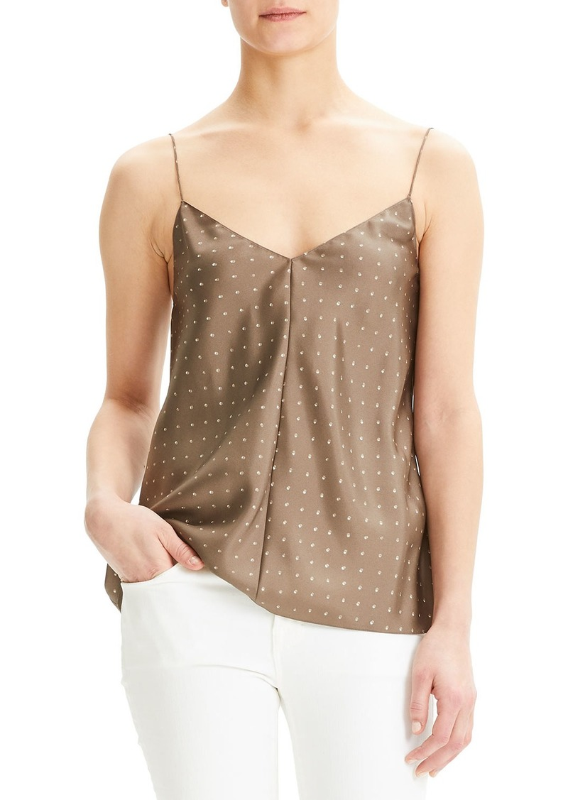 Theory Dot Overlay V-Neck Silk Camisole