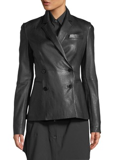 Theory Double-Breasted Bristol Leather Blazer