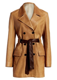 Theory Double Breasted Leather Peacoat