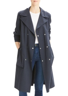 Theory Double-Breasted Military Trench Travel Wool Coat