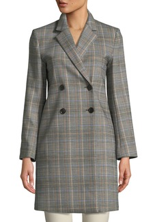 Theory Double-Breasted Plaid Wool Coat
