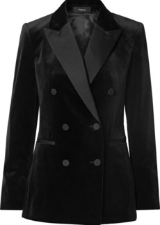 Theory Double-breasted Satin-trimmed Cotton-velvet Blazer