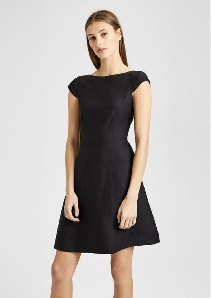 6981158e Theory Double-Faced Linen Cap-Sleeve Shift Dress