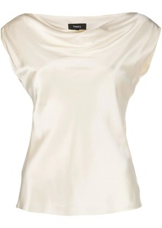 Theory draped boat-neck blouse