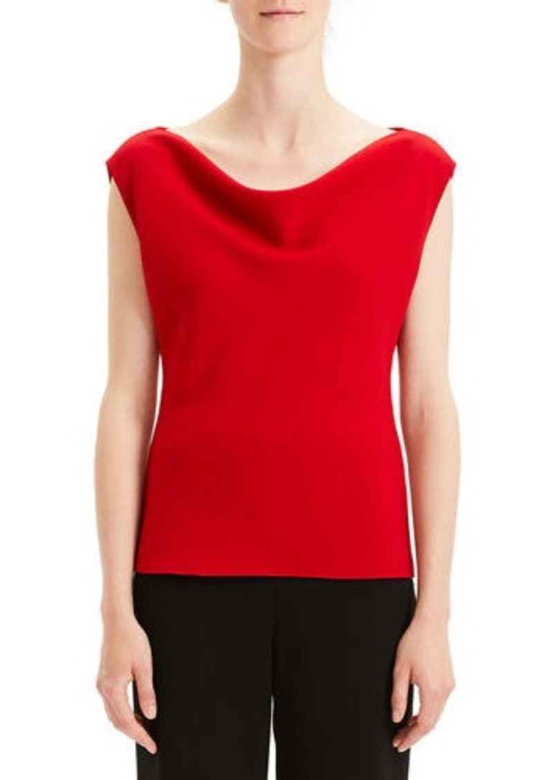 Theory Draped Boat-Neck Classic Crepe Top