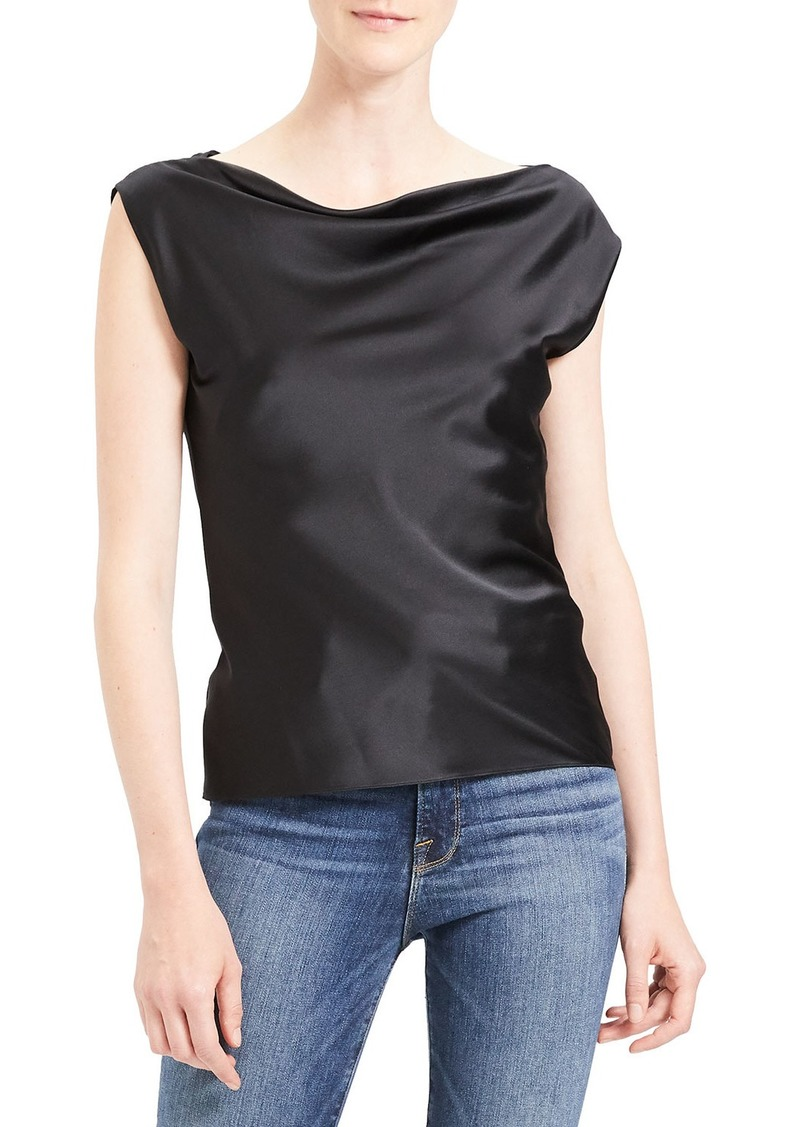 Theory Draped Boat Neck Silk Top