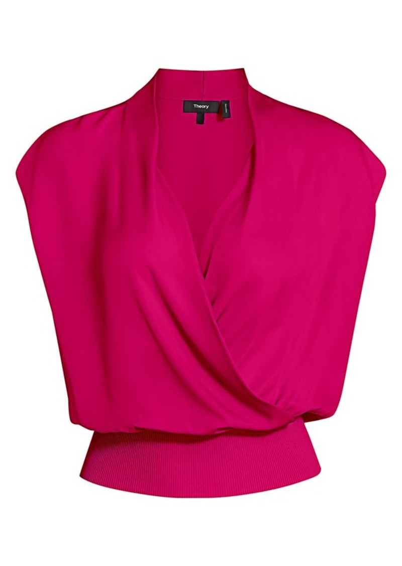 Theory Draped Combo Silk Top