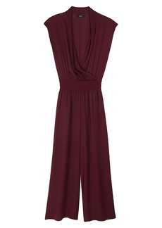 Theory Draped Combo Wide-Leg Silk Jumpsuit