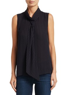 Theory Draped Pinstripe Silk Shell