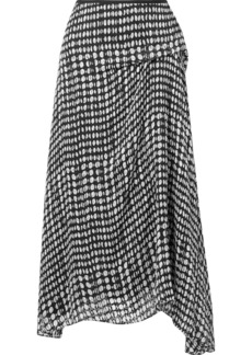 Theory Draped Polka-dot Fil Coupé Chiffon Midi Skirt