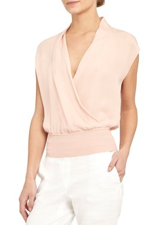 Theory Draped Silk Combo Top