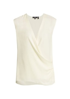 Theory Draped Silk Shell Top