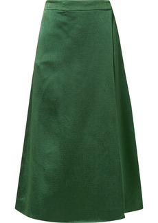 Theory Draped Skirt-effect Hammered-satin Wide-leg Pants