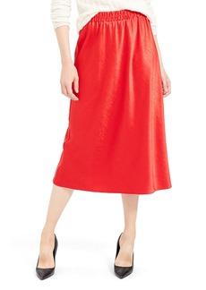Theory Easy Pull-On Satin Midi Skirt