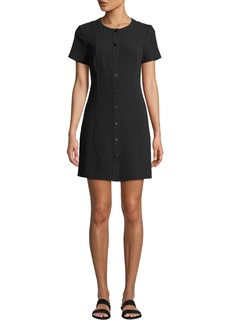 Theory Easy Snap-Front Shift Dress