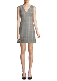 Theory Easy V-Neck Plaid Shift Dress