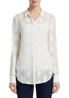 Theory Embroidered Button-Front Shirt