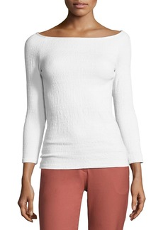 Theory Ennalyn B Smocked Off-the-Shoulder Top  White