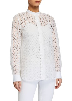 Theory Eyelet Button-Down Combo Shirt