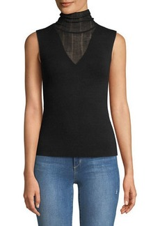 Theory Faux Double-Layer Sleeveless Shell Refine Merino Wool Shell