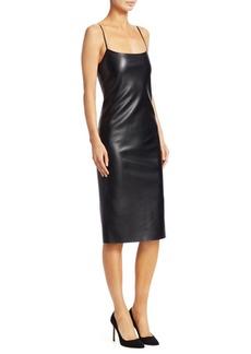 Theory Faux Leather Skinny Slip Dress