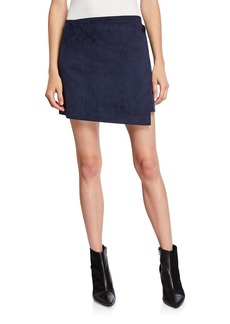 Theory Faux-Suede Short Wrap Skirt