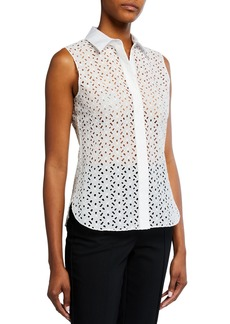 Theory Fitted Daisy Eyelet Shirt