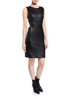 Theory Fitted Leather Cocktail Dress