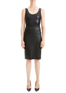 Theory Fitted Scoop-Neck Leather Cocktail Dress