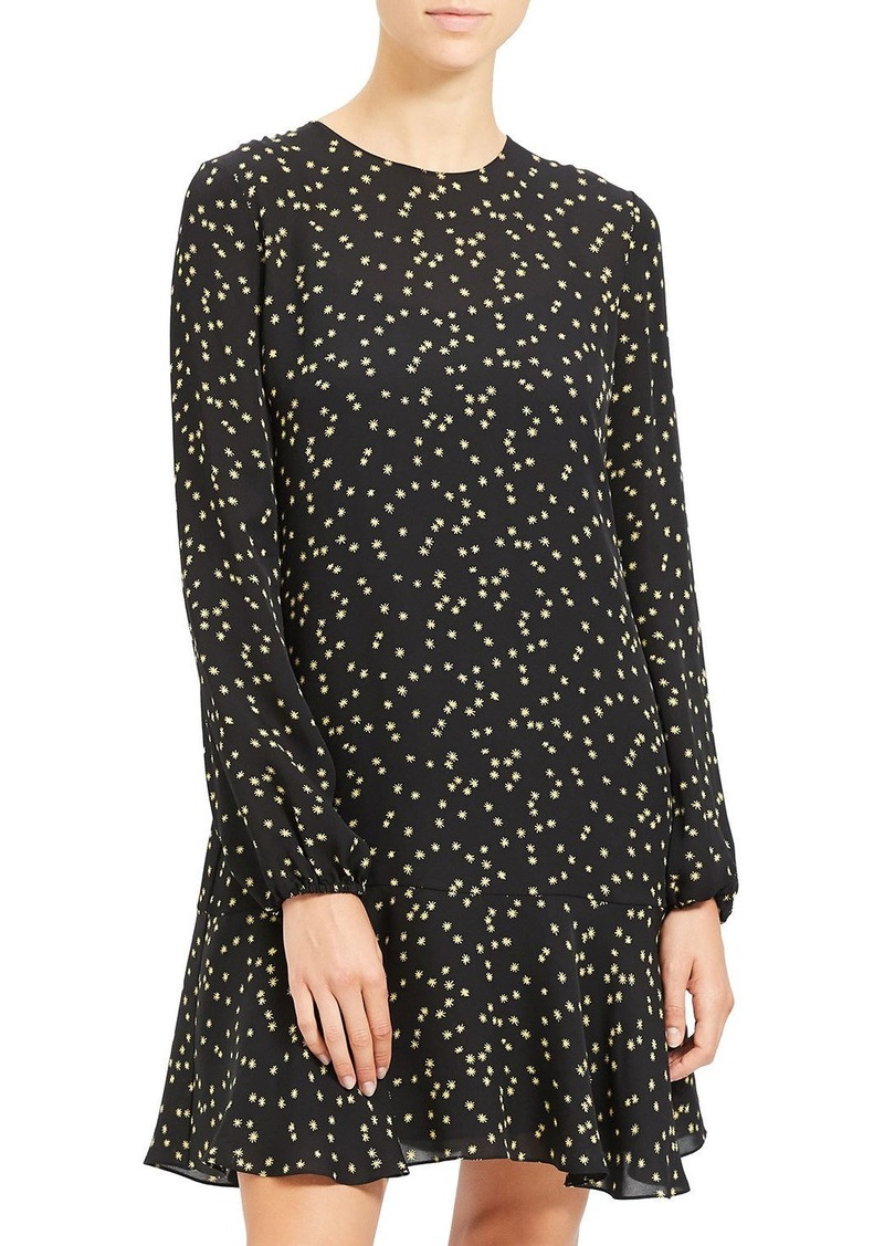 Theory Flared Long-Sleeve Printed Dress