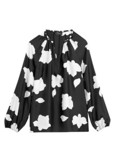Theory Floral V-Neck Puff-Sleeve Silk Blouse