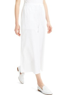 Theory Fluid Wide-Leg Stretch-Cotton Pull-On Pants