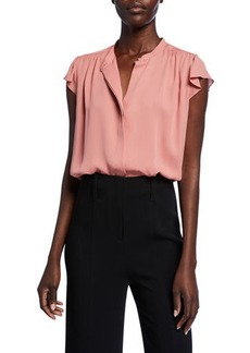 Theory Flutter Cap-Sleeve Shirred Yoke Georgette Top