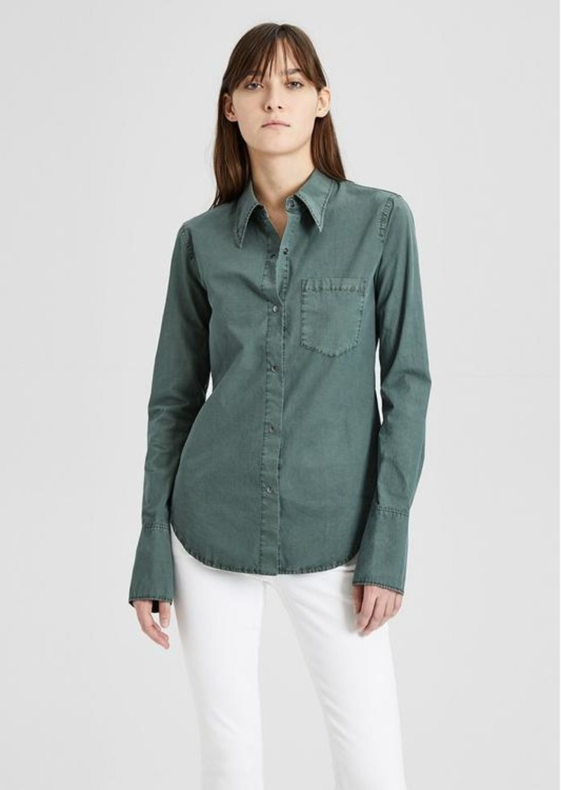 Theory Garment-Dyed Poplin Slim Collar Button-Down