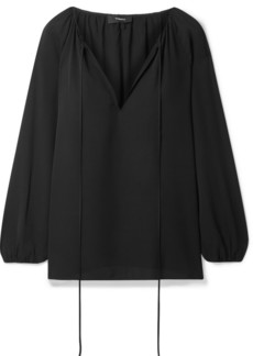 Theory Gathered Silk-chiffon Blouse