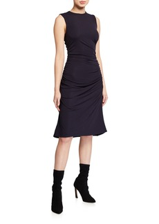 Theory Gathered-Waist Ribbed Viscose Dress