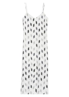 Theory Geo Print Silk Midi Slip Dress